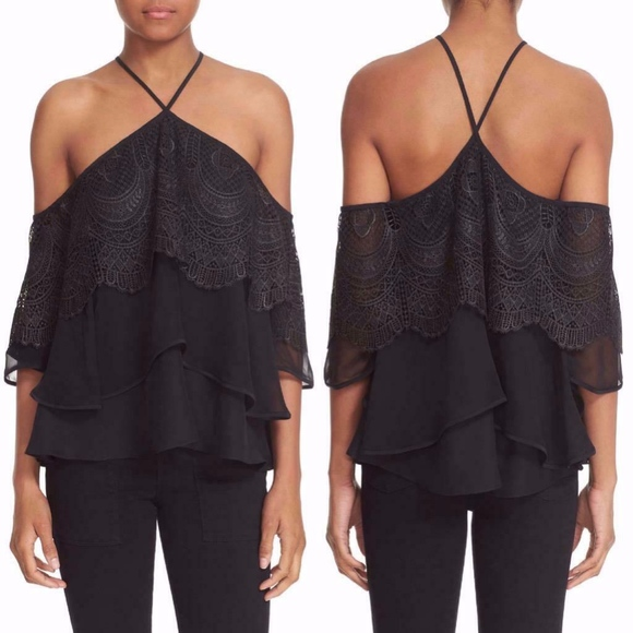 Cinq à Sept BLACK Lace COLD SHOULDER Silk BLOUSE S